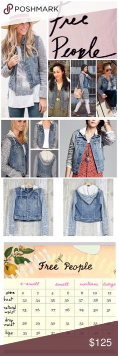 """Free People Knit Hooded Denim Jacket.  NWT. Free People Indie Wash Combo Knit Hooded Denim Jacket, 100% cotton, machine washable, 18.5"""" armpit to armpit (37"""" all around), 20"""" arm inseam, 20"""" length, removable hoodie, front breast pockets with button flap button closure, front welt pockets, contrast fabric sleeves and hood, drawstring hood, adjustable button tab at hem, intentional distressing throughout, measurements are approx.  Extra button attached.   NO TRADES Free People Jackets & Coats…"""