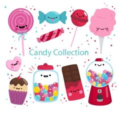 Colorful candies collection in hand drawn style Kawaii Drawings, Cute Drawings, Drawing Faces, Doodles Kawaii, Griffonnages Kawaii, Candy Art, Colorful Candy, Candy Shop, Aesthetic Stickers