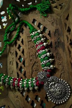 Krishna Thread Necklace Set With Oxidised German Silver Temple Pendant With Earring