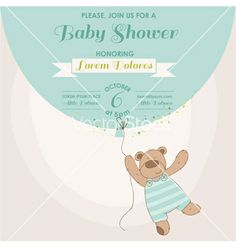 Baby shower card - baby bunny with balloon vector - by woodhouse84 on VectorStock®