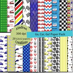 Go Car Go Digital Paper Pack 300 dpi 12x12 20 papers For Personal or Small Business Use BUY 2 GET 1 FREE. $3.00, via Etsy.