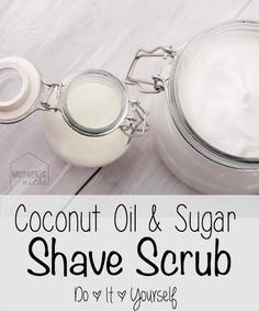 Simply mix coconut oil and sugar till you reach the consistency you desire. Use on legs before and after shaving.