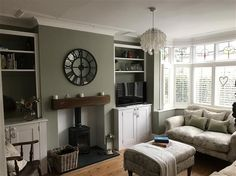 New Ideas Bedroom Green Gray Farrow Ball 1930s House Interior Living Rooms, 1930s Living Room, Sage Living Room, Log Burner Living Room, Farrow And Ball Living Room, Victorian Living Room, Cottage Living Rooms, New Living Room, 1930s House Interior Ideas