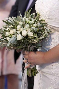 What I carried in my Santorini wedding: White roses and olive branch bouquet