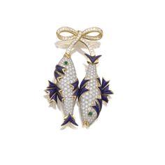 Enamel, emerald and diamond brooch, 'Poissons', Jean Schlumberger, Tiffany  Co