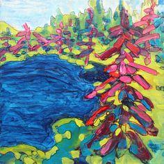 """Water's Edge 8"""" x 8"""" mixed media by Rea Kelly.  reakelly.com"""