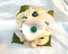 Felt and Button Wedding Bouquet Custom Peacock by AfternoonDelite, $35.00