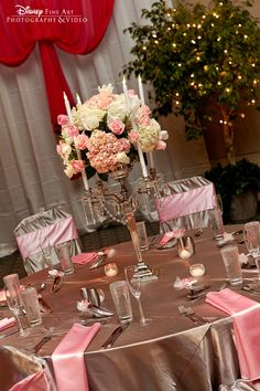Pretty pink and white candelabra centerpieces