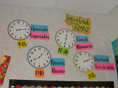 Like this idea to help kids remember important times in the classroom.