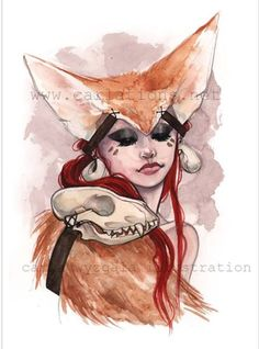 Lady red Fennec Fox ears watercolor art print by carlationsart