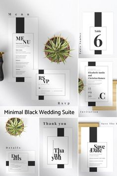 This simple minimalist black and white Wedding Stationery Invites Suite is the perfect Printable invitations and wedding paper goods collection for the DIY bride and groom that you can fully edit and print on your own. A minimal design features modern and elegant black and white style. This stationery suite includes Invitation, save the Date Details, RSVP, Wishing Well, Thank You Card, Table Numbers, Place Cards and a wedding dinner Menu. Black And White Wedding Invitations, Minimalist Wedding Invitations, Creative Wedding Invitations, Letterpress Wedding Invitations, Printable Wedding Invitations, Elegant Wedding Invitations, Wedding Stationery, Invites, Invitation Suite