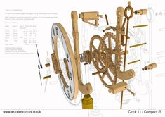 Clock 11 Compact/Simple clock with the least number of parts for a relatively quick introduction to woodenclock building Wooden Clock Plans, Wooden Gear Clock, Wooden Gears, Wood Clocks, Grandfather Clock Repair, Grandfather Clock Tattoo, Grandfather Clocks For Sale, Woodworking In An Apartment, Woodworking Furniture Plans