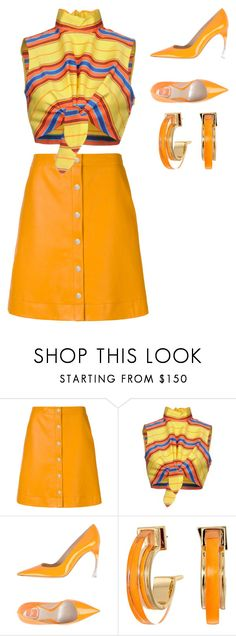 """""""Untitled #2428"""" by campbell765 ❤ liked on Polyvore featuring PS Paul Smith, Moschino, Christian Dior, Alexis Bittar, orangeoutfit and popsoforange"""
