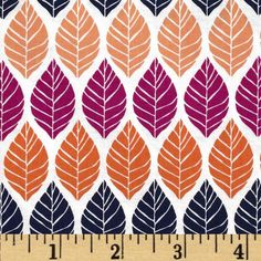 Michael Miller Rustique Leaf Press Plum from @fabricdotcom  Designed by Emily Herrick for Michael Miller, this cotton print is perfect for quilting, apparel and home decor accents.  Colors include white, navy, plum and shades of orange.