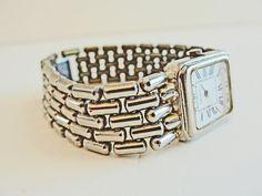 SALE Silver #Monet Wrist #Watch 1980's Vintage Ladies Chain Bracelet Watch