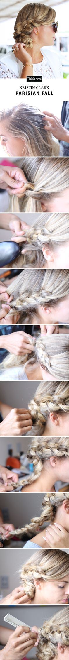 """TRESemmé & Kristin Clark of Living in Color Print nicknamed this cross between a French & Waterfall Braid the """"Parisian Fall"""" for its Miami Swim debut. To get the look, texturize hair with TRES Perfectly (un)Done Sea Foam. Begin a Waterfall Braid on one side of your head. When you reach the nape of your neck, gather the hair from the other side & begin French braiding it into the Waterfall Braid. Secure & twist into a low bun, pinning in place. Finish with TRES Perfectly (un)Done Hairspray."""