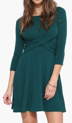 X Out Dress in Hunter green