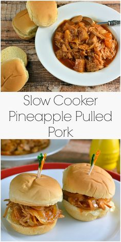 Slow Cooker Pineapple Pulled Pork Recipe- pineapple, pork and a simple BBQ sauce takes 10 minutes to put together for a tasty and quick meal. | #pulledpork | www.savoryexperiments.com