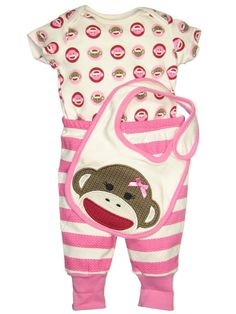 1085ebb0db Amazon.com  Unisex 3 Piece Sock Monkey Baby Outfit by Baby Starters   Clothing