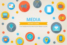 Check out Round media icons by miumiu on Creative Market