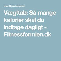 Vægttab: Så mange kalorier skal du indtage dagligt - Fitnessformlen.dk