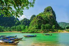 Boats on the river at Phong Nha-Ke National Park