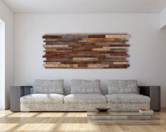 Holzskulptur 3D Wandskulptur gemalt Holzstücke Kunst Mitte