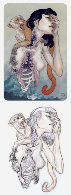 """Rattle"" - J.A.W. Cooper, anatomical sketch and color pencil drawing, 2013 {contemporary #surreal illustrator dissected #female anatomy monkey animal NSFW} Interview !!"