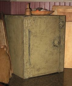 .this old worn and hand made cabinet....love color