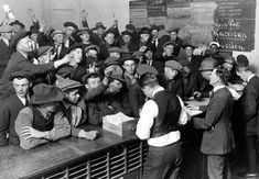 Unemployed men vying for jobs at the American Legion Employment Bureau in Los Angeles during the Great Depression