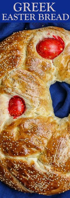 Greek Easter Bread ~ sweet, brioche-like Easter bread with a Greek twist.tasty, dense bread that's adorned with red eggs! Greek Easter Bread, Greek Bread, Easter Bread Recipe, Bread Recipe Video, Easter Recipes, Holiday Recipes, Recipes Dinner, Greek Desserts, Greek Recipes