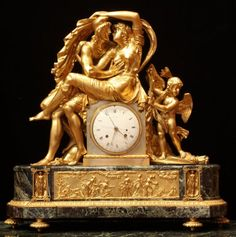 Directoire Ormolu Clock Attributed To Thomire Portraying Helemn Of Troy And Paris. The Very Large Clock With Extraordinary Original Gilding And Brilliant Chasing Is An Example Of The Wondeful Sculptural Quality French Clocks Sometimes Display - France Clock Art, Clock Decor, Wall Clock Wooden, Unusual Clocks, French Clock, Classic Clocks, Retro Clock, Wall Clock Online, Wall Clock Design