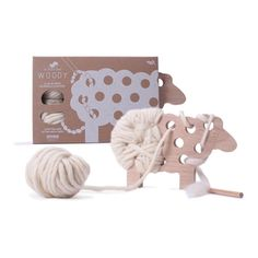 Introduce your kids to the joy of knitting with this adorable and eco-friendly game!  Woody the sheep is feeling a bit chilly - let your child wrap him up cozy with the included organic wool yarn in any fashion they choose! Shop Our Green House today!