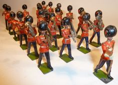 Lot 153 - Britains set 37, Band of the Coldstream Guards (G, a few F, some not matching, drum major baton