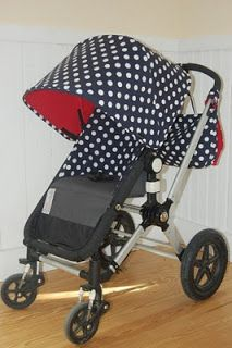 Fresh Maine Baby Treats Custom Bugaboo Stroller Covers Navy Jane dots with Red