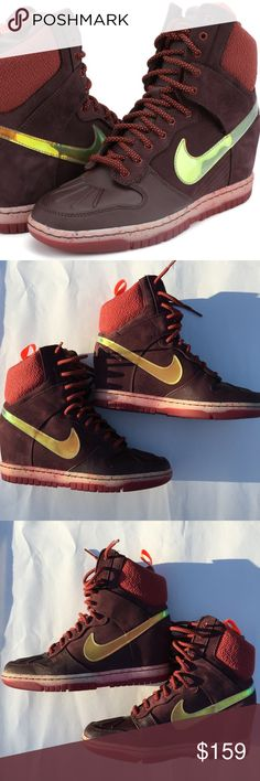"""Nike 684954-600 Dunk Sky Hi Sneakerboots Size 8 Nike 684954-600 Dunk Sky Hi Sneakerboots Size 8 ****NEW WITHOUT BOX*** - SOLD OUT IN STORES  Deep Burgundy / Cedar / Hyper Crimson Water-repellent and boasting excellent traction, the Nike Sky Hi Women's SneakerBoot combines the style of the '80s icon with the protection and performance you need to battle the winter elements. More Benefits Pull tab at heel for easy on and off Hidden 2.6"""" wedge for a sporty, feminine look Full-length rubber…"""