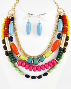 Gold Tone / Multi Color Acrylic / Lead Compliant / Multi Row / Necklace & Fish Hook Earring Set