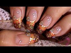 Spring Bling Flower Colorful Nails Tutorial - YouTube