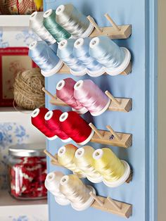 Peg rack for thread. (Clever Closet Storage - Turn the back of a closet door into a crafty storage space with a peg rack that holds spools of thread, ribbons, and tools. Kids Craft Storage, Craft Storage Drawers, Sewing Room Storage, Arts And Crafts Storage, Sewing Room Organization, Sewing Rooms, Closet Storage, Storage Ideas, Thread Storage