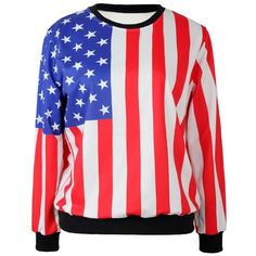 Multi Color American Flag Pattern Sweatshirt ($28) ❤ liked on Polyvore featuring tops, hoodies, sweatshirts, multi, print sweatshirt, red top, american flag sweatshirt, long sleeve sweatshirt and colorful tops