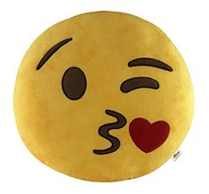 KINREX Emoji Pillow Toys For Kids And Adults - Blowing Kisses Yellow Pillow Cushion - Birthday Presents For Boys, Girls, And Adults - 35 cm -- You can find out more details at the link of the image. (This is an affiliate link)