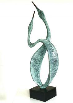 BRONZE Varietal Mix of Bird Sculptures or sculpture by sculptor Gill Brown titled: 'River Dance (Semi abstract Contemporary birds bronze Bird statues)'