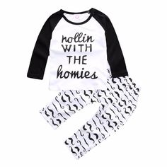 Baby Boy's Cotton Raglan Tee/Top & Mustache Printed Pants/Bottom Set