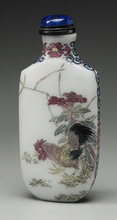 Glass bodied painted enamel snuff bottle with decoration of a stork, pine tree, cock and flowers China, Qing dynasty, 19th century