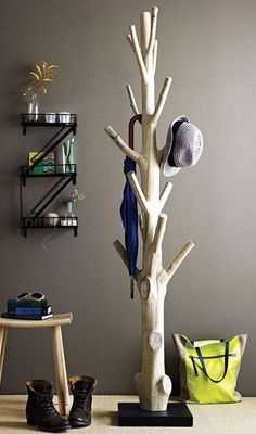Diy Tree Coat Rack. 15 Coatrack DIYs for a Light and Airy Scandinavian Style Home https://www.toovia.com/do-it-yourself/15-coatrack-diys-for-a-light-and-airy-scandinavian-style-home
