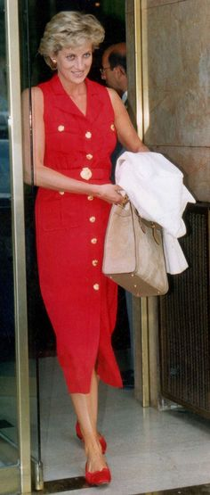 Princess Diana, looking gorgeous in red dress with gold buttons & red flats