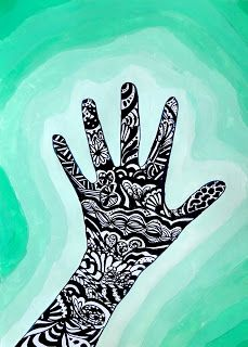 arteascuola: Zentangle hand on a value background