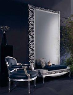 Large Ornate Mirror & Stool