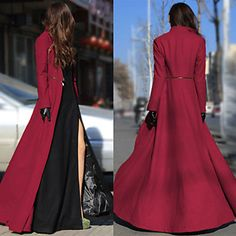 Women Long Sleeve Maxi Dress Coat Floor Length Jacket Plus Size Long Trench Coat Long Sleeve Maxi, Maxi Dress With Sleeves, Dress Outfits, Fashion Dresses, Fashion Coat, Style Fashion, Fashion Fabric, Winter Fashion, Vintage Style Outfits