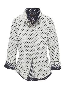 "Easy #Essential: die gepunktete Hemdbluse ""Naomi. #Fashion #StreetOne #MyStreetOne #Essential #Stripes #Blouse"